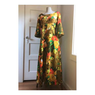 1960s Ui Maikai Orange & Yellow Tropical Floral Kaftan Dress with Empire Waist- size Med by VeeVintageShop