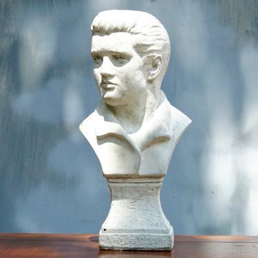 "Vintage 1970's Solid Plaster Elvis Presley Bust, White Chalk Table Top Figure Statue, Rustic Details , Elvis Presley Collectibles, 12.5"" H by shopGoodsVintage"