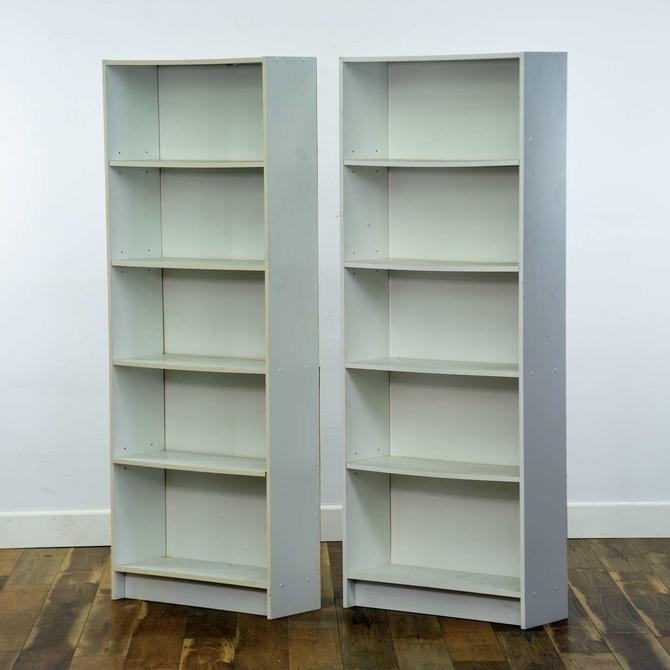 Pair Of White Danish Modern Bookcases 6
