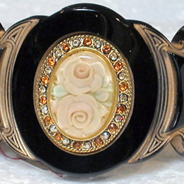 """French Bracelet Lucite Cuff """"Belle Epoque Style"""" Solid Black with Peach Rose Center by CafeSocietyStore"""