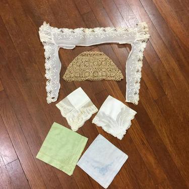 Antique Victorian Edwardian Lot Collar Crochet Hat Hankies by FlashbackATX