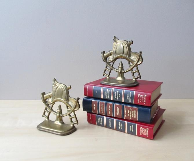 pair solid brass bookends - fire fighter hat hose hydrant ladder - gift for everyday hero by ionesAttic