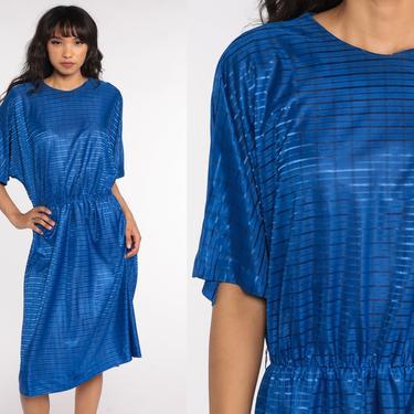 70s Midi Dress Royal Blue Dress Short Sleeve Dress 80s High Elastic Waist Secretary Retro Vintage 1980s Day Plain Large by ShopExile
