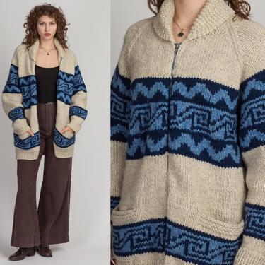 70s Boho Cowichan Cardigan Jacket - Men's Large, Women's XL   Vintage Chunky Southwestern Knit Zip Up Pocket Sweater by FlyingAppleVintage