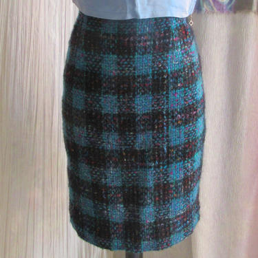 Vintage 80s 90s Plaid Pencil Skirt High Waist, Fuzzy Wool Blend, Preppy, Teal Black Purple, Size 6 by GabAboutVintage