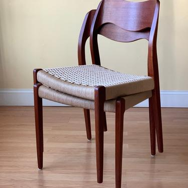 12 Moller Model #71 Dining Side Chairs, 6 Teak+ 6 Rosewood sewood, new Danish Paper Cord natural or black by ASISisNOTgoodENOUGH