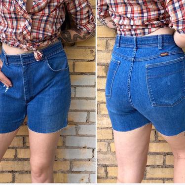 Vintage Wrangler Distressed Blue Jean Cut Off Shorts / Super Soft Medium Wash High Rise Bleach Denim Shorts / Size 34 Waist by AmericanDrifter