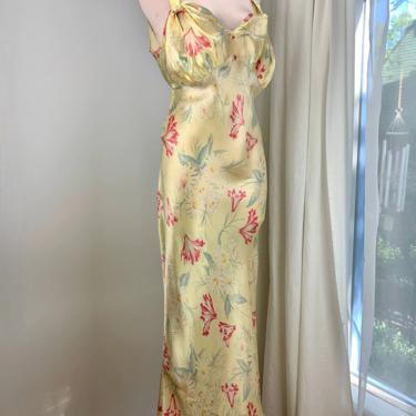 1940'S Satin Bias Cut Negligee  - Yellow Floral Rayon Satin - Interesting Knotted Strap details - Size LARGE by GabrielasVintage