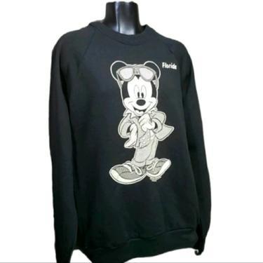 Vintage Mickey Mouse Sweatshirt Mirror Print, Walt Disney Company, Florida Souvenir Shirt, TV Cartoon Mouse, Retro Vintage Clothing by AGoGoVintage