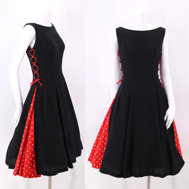 50s black lace up party dress  / vintage 1950s Minnie Mouse polka dot full circle skirt dress sz 8 by ritualvintage
