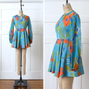 vintage 1970s mini dress • bright oversized floral go-go dress with sheer puff sleeve • zipper front by LivingThreadsVintage