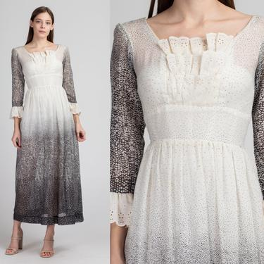 60s 70s Black & White Gradient Prairie Maxi Dress - XS to Petite Small   Vintage Polka Dot Sheer Boho Long Sleeve Dress by FlyingAppleVintage