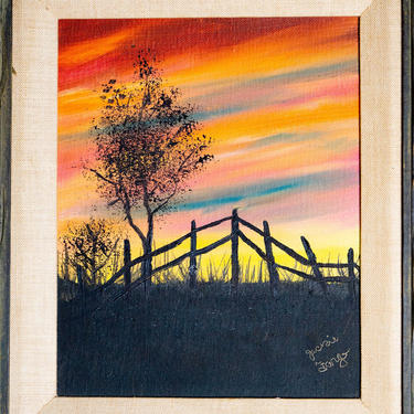 ORIGINAL LANDSCAPE PAINTING - Jackie Fargo - 1960s Americana - Acrylic Sunset Trees - Distressed Frame by CovetModernDesign