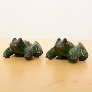 Male & Female Paperweight Sculptural Frogs Mid Century Period by AMBIANIC