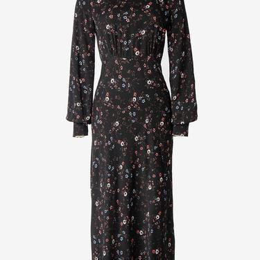 Vampy 1930s Style Dark Floral Dress