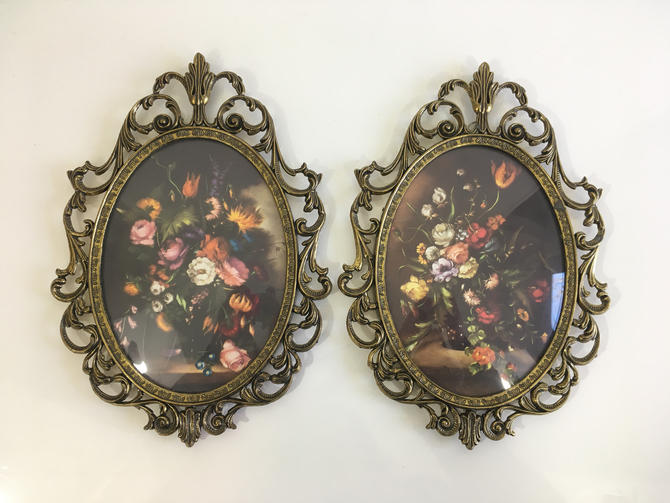 Vintage Oval Bubble Framed Flowers Ornate Metal Frames Made In Italy