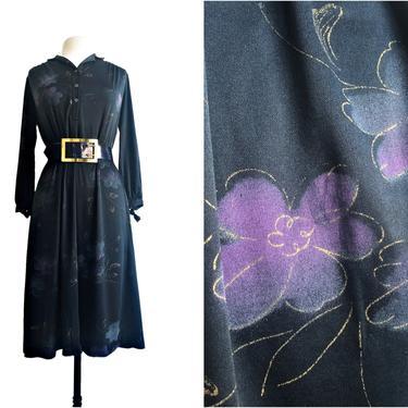 Vintage 70s Ms Sugar black floral dress| purple & gold flowers by Vintagiality