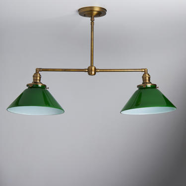 """2 Light Pendant Chandelier with 10"""" antique brass metal shades by OldeBrickLighting"""