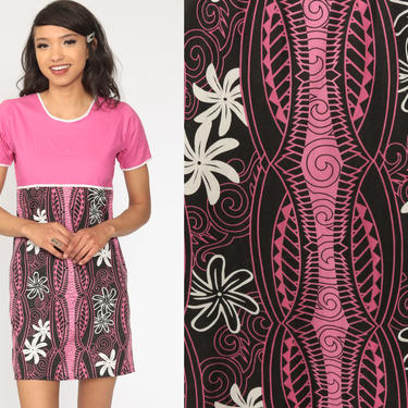 90s Floral Dress Pink Hawaiian Hibiscus Tropical Mini Tiki Flower Print Summer Dress Boho 1990s Bohemian Vintage Shift Extra Small xs by ShopExile