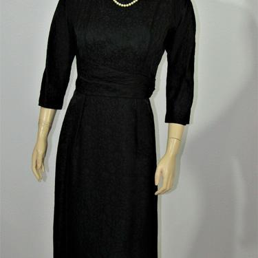 Vintage 50s Leslie Fay Cocktail Jaquard Dress by GraveyardVintage