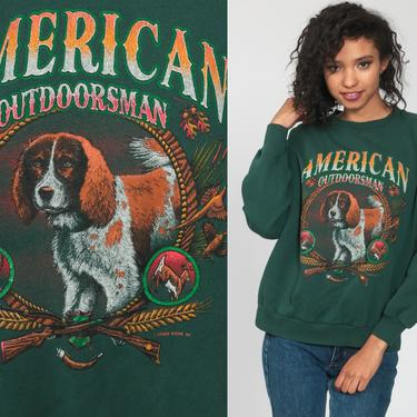 Dog Sweatshirt 90s AMERICAN OUTDOORSMAN Shirt Dog Sweatshirt Hunting Cute Kawaii Animal Shirt Graphic Print 1990s Vintage Small Medium by ShopExile