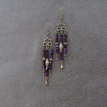 Gypsy chandelier earrings, boho chic earrings, long purple crystal earrings, brass rustic earrings, unique, modern contemporary earrings by Afrocasian