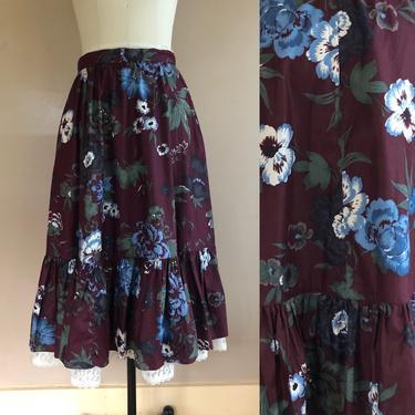 "70s GUNNE SAX Burgundy floral chintz cotton prairie peasant skirt / vintage 1970s Gunnies dress skirt 29"" waist by ritualvintage"