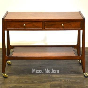 Mount Airy Walnut Rolling Bar Cart by mixedmodern1