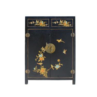 Chinese Black Color Flowers & Birds Veneer Leather Side Table Shoes Cabinet cs5798E by GoldenLotusAntiques