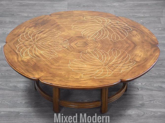 John Widdicomb Scalloped Edge Walnut and Inlay Round Coffee Table by mixedmodern1