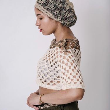 The Umi Tam in Camouflage & Khaki/Hemp Cotton Tam/Handmade Unisex Crochet Tam/Hemp Beanie/ by KonjoCrochet