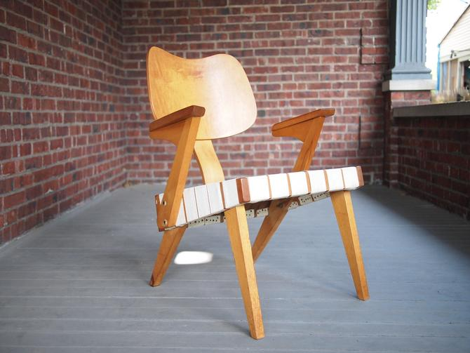 Rare Vintage RUSSELL SPANNER Ruspan Lounge CHAIR 1950 Bent Plywood + Webbing Mid-Century Modern, danish retro eames Lcw knoll risom era by refugegallery