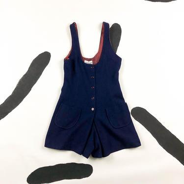 80s Navy Blue Romper / Skirted / Dress / Shorts / Scoop Neck / Button Front / Onesie / One Piece / 60s / Garland / Small / 26 Waist / Tank by shoptrashdotnet