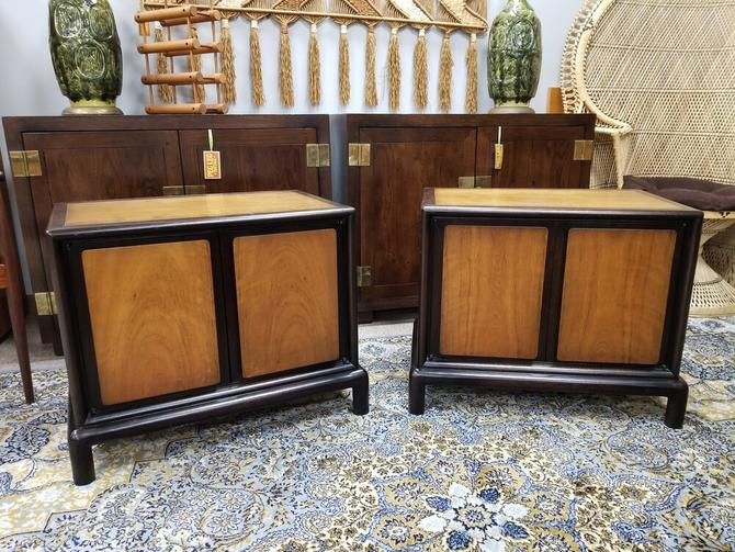 Pair of Mid-Century two tone nightstands