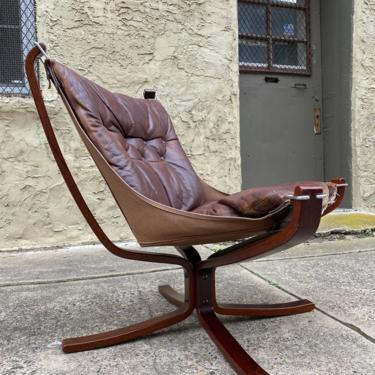 Mid century lounge chair Danish modern sling chair Sigurd Russell for Vatne Mobler Falcon chair by VintaDelphia