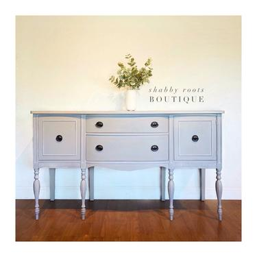 NEW! Gorgeous Antique Buffet sideboard cabinet light gray grey tall with beautiful legs! San Francisco CA by ShabbyRootsBoutique