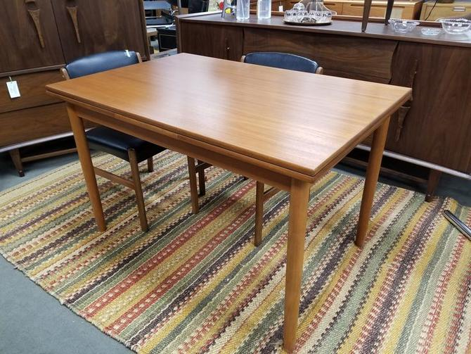Danish Modern teak small scale draw leaf dining table