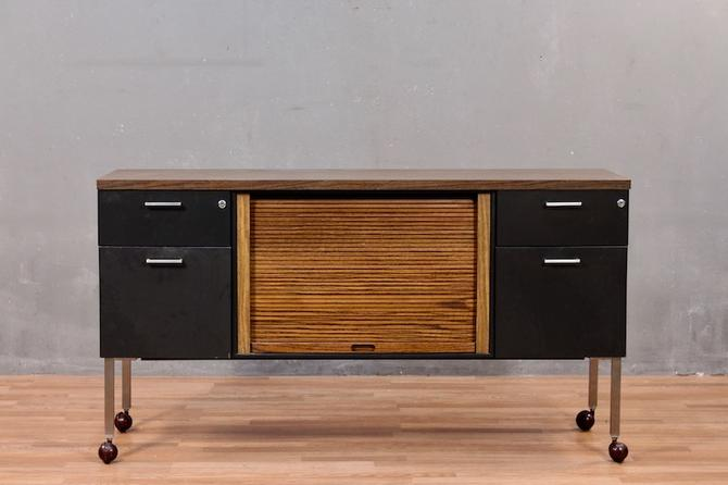 Mid Century Industrial Rolling Office Credenza