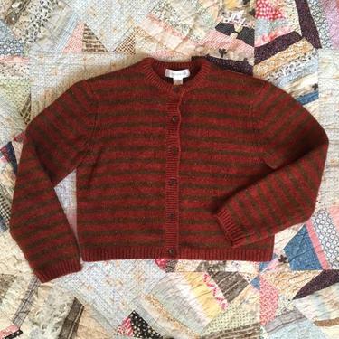 vintage 80s 90s shetland wool cardigan sweater - russet/rust & brown striped cardigan / Jones New York sweater - striped sweater by AgeofMint