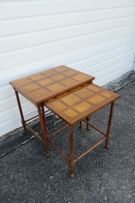 Parquet Inlay Set of Two Nesting Tables by Baker 2149