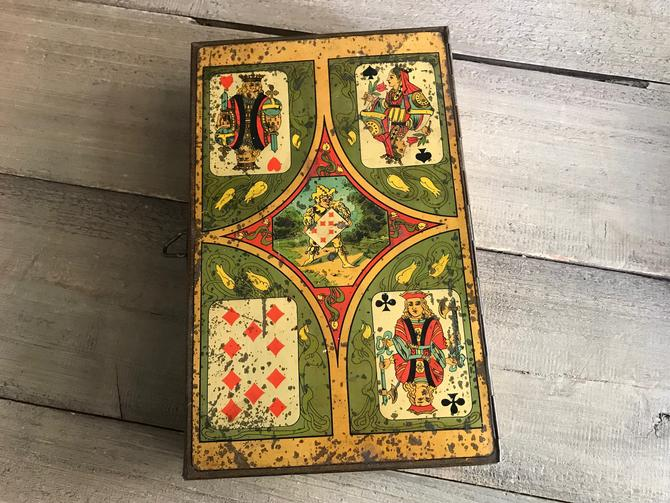 1900s French Litho Tin, Nain Jaune, Advertisement, Playing Cards, Collectible Storage Tin, Metal Box by JansVintageStuff
