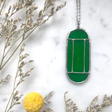 Green Art Deco Translucent Stained Glass Necklace | Cathedral Necklace | Glass Necklace | Vintage Style Necklace by LedbellyVintage