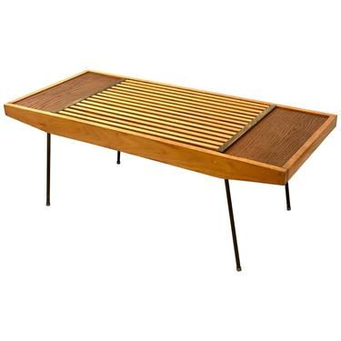 American Mid-Century Modern Slat Coffee Table or Bench