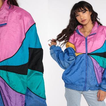 90s Windbreaker Jacket Rainbow Jacket Pink Blue Color Block Jacket Vintage 1990s Zip Up Jacket Warmup Track Jacket Extra Large xl l by ShopExile