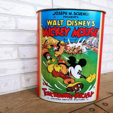 1997 Touchdown Mickey Waste Basket Trash Can by RedsRustyRelics