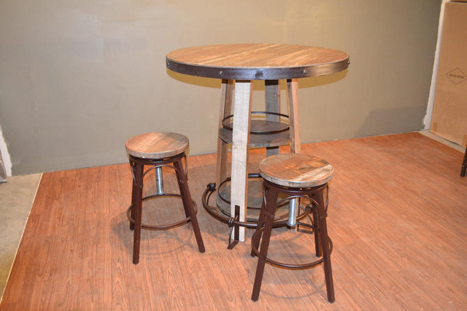 Rustic Bistro Table with and four matching stools by RusticShop1