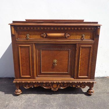 Antique Wood Buffet Cabinet Victorian French Sideboard Hutch Wood TV Media Console France Country Storage Server Table CUSTOM Paint Avail by DejaVuDecors