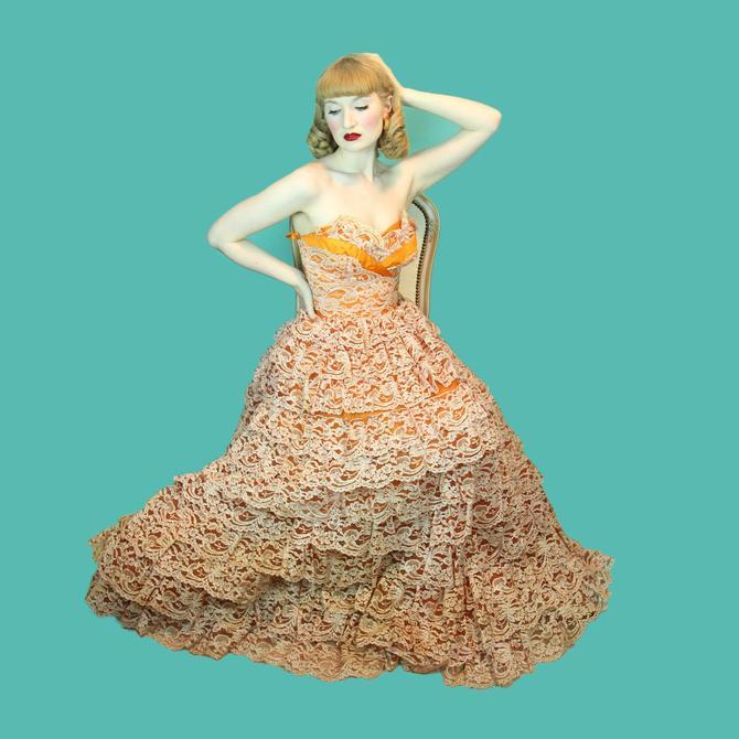Vintage 1950's Princess Cupcake Dress Orange Multi Layer Ballgown Burlesque Chiffon & Lace Tiered  Skirt Size XS by WalkinVintage