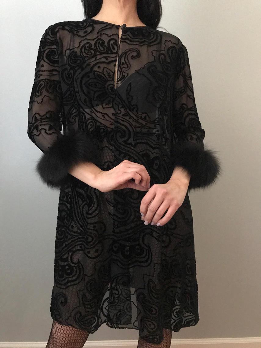 Vintage 70s Black Silk Burnout Velvet Robe With Fox Fur