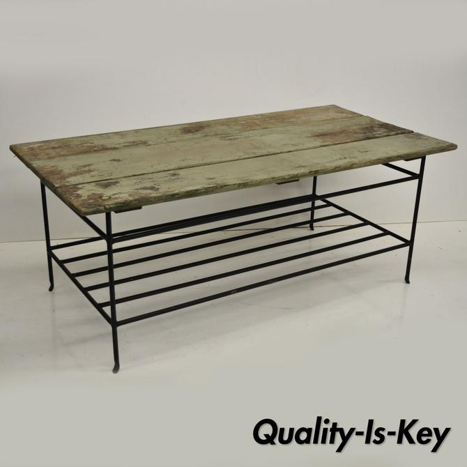 Reclaimed Wood Slat Iron Green Distress Painted Style Coffee Table